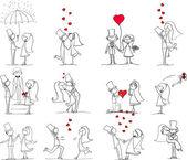 漫画の結婚式の写真 — ストックベクタ