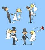 свадьба, жених и невеста — Cтоковый вектор