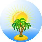 Palm trees in the ocean — Stock Vector