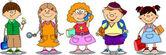 Schoolboys and schoolgirls — Stock Vector