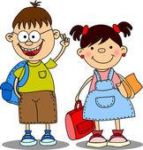 Cute schoolboys and schoolgirls, School elements — Stock Vector
