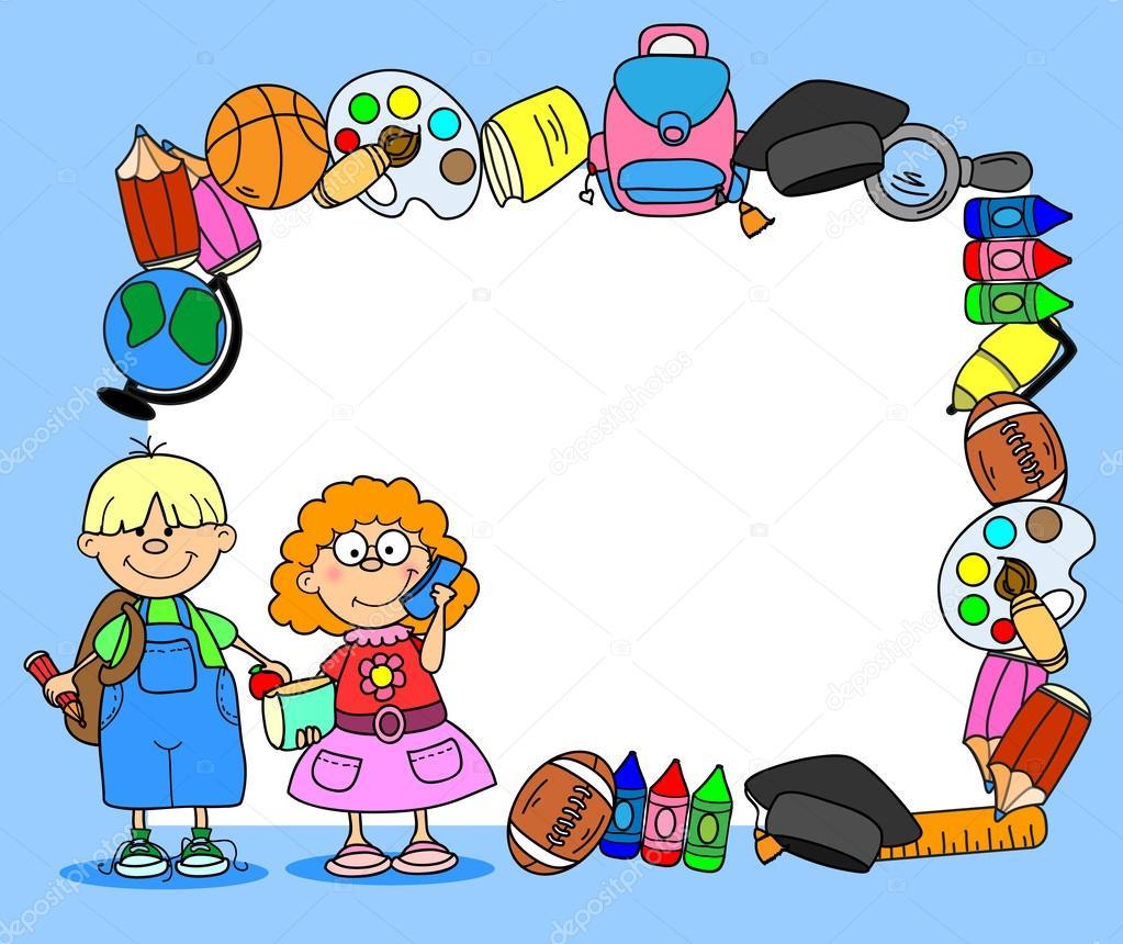 School supplies, school children, the frame — Stock Vector ...