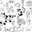Set of black white animals — Stock Vector #36350063