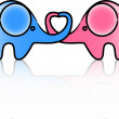 Cute love elephants, vector — Image vectorielle
