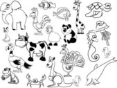 Set of black white animals — Stock Vector