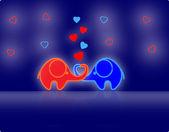 Lindo amor elefantes, vector — Vector de stock