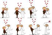Boda, la novia y el novio — Vector de stock