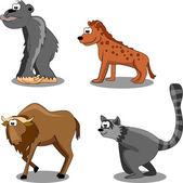 Gorilla, hyena, wildebeest, vulture, lemur — Stock Vector