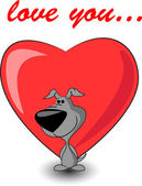 Cute puppy keeps heart — Vector de stock