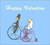 Ride and groom riding a bike — 图库矢量图片