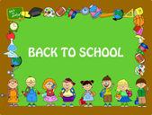 Schoolboys and schoolgirls, School elements frame — Stock Vector