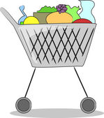 Shopping cart complete products — Stock Vector