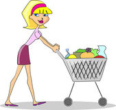 Girl with Shopping cart — Stock Vector