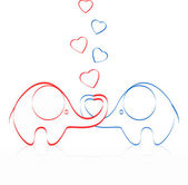 Two lovers an elephant kept heart — Vector de stock
