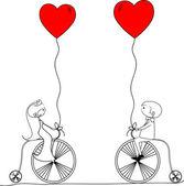 Wedding , bride and groom ride bikes — Stockvector