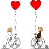 Matrimonio sposi in bici — Vettoriale Stock