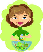 Woman preparing salad — Stock Vector