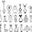 Cartoon black and white animals — Vector de stock