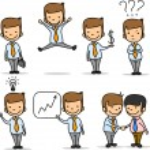 Set of funny cartoon office worker — Stock Vector
