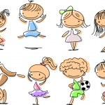 Happy children jumping, playing, running — Stock Vector #37446057