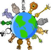 地球の周りの動物 — ストックベクタ