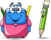 Cartoon school bag and pencil — Stock Vector