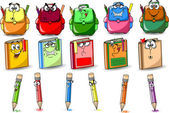 Cartoon school bags, books and pencils — Stock Vector
