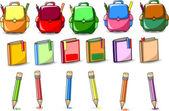 Sacos de escola de desenho, lápis e livros — Vetor de Stock