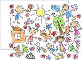 Children's drawings — Stock Vector