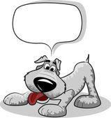 Niedliche cartoon hund und eine sprechende blase — Stockvektor