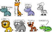 Set cartoon animals — Stock Vector
