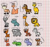 Big set of various cartoon animals and birds — Stock Vector