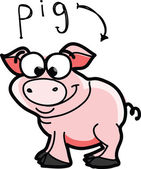 Cerdo de la historieta — Vector de stock