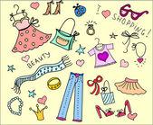 Doodle, nakupování — Stock vektor