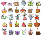 Birthday gifts and cupcakes — Stock Vector