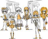 Kreslený módní dívky — Stock vektor