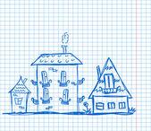 Casas de arte para su diseño — Vector de stock