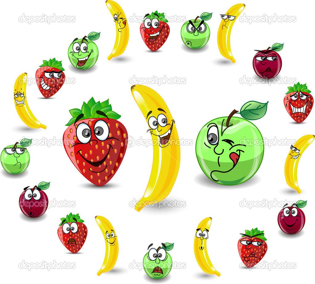 卡通水果和浆果与情感