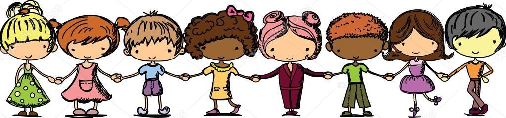 Caricatura a lindos niños tomados de la mano — Vector stock ...