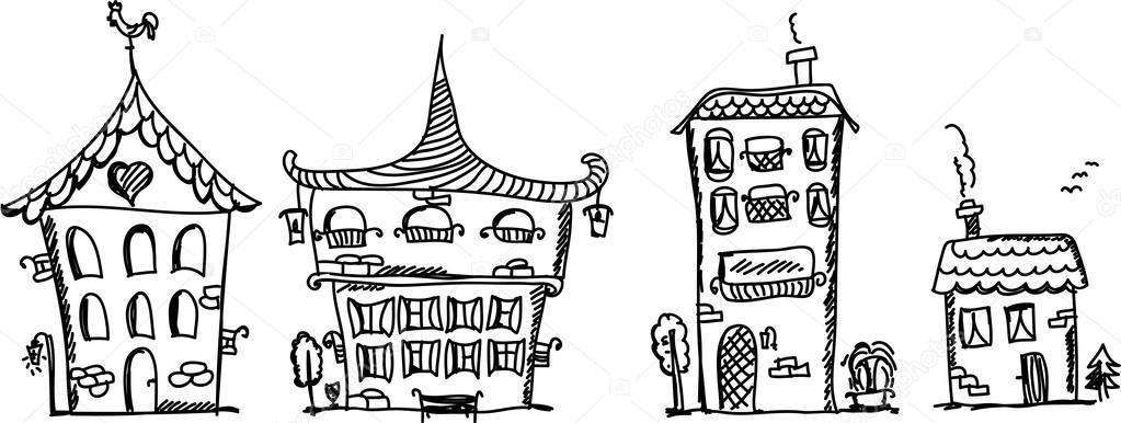 Cartoon hand tekenen van huizen stockvector for Huizen tekenen