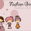 Stock Vector: Cartoon fashionable girls