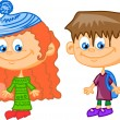 Set of cartoon cute children — Stockvektor #37455999