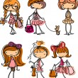 Stock Vector: Fashion girls