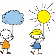 Boy holds a sign the weather — Stock Vector #37457269