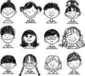 Cute smiling faces of people — Vecteur
