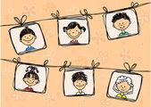 Desenhos de crianças no quadro resumo a sorrir — Vetorial Stock