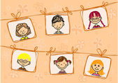Croquis de souriants des enfants dans le cadre abstrait — Vecteur