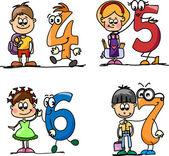 Cartoon numbers and children — Stock Vector