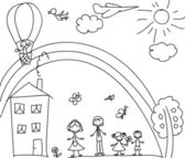 Child's drawing of the family — Stockvector