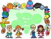 Cartoon children, students — Stock Vector